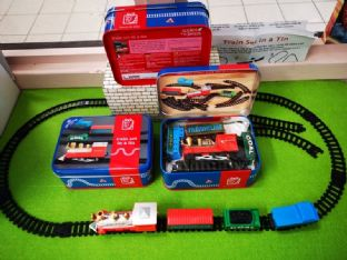 Train Set in a Tin - working train, carriages & track in handy tin. Battery operated